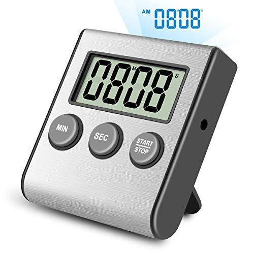 Digital Kitchen Timer,Super Strong Magnetic Back,Stainless Steel Shell,Large Display,Loud Alarm,Professional Minute Second Count Up and Countdown Timers for Cooking Sports Games. by SunStrider