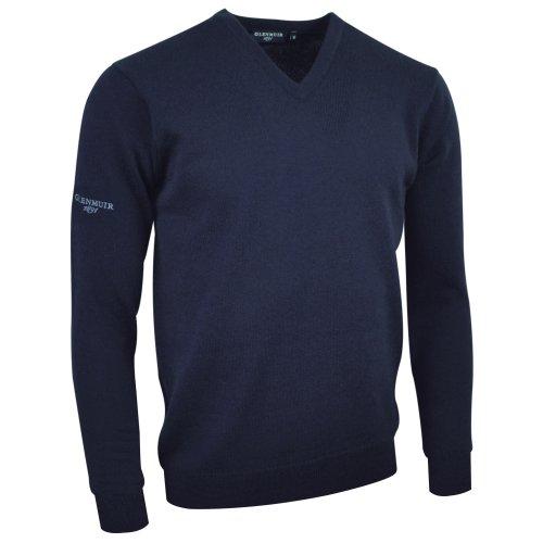 Glenmuir Lomond - Pull à col en V 100% laine d'agneau - Homme (S) (Bleu clair)