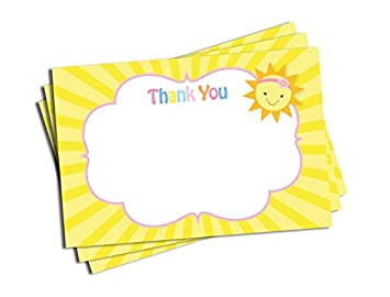 Amazon Com 50 Pink Sunshine Thank You Cards Baby Shower