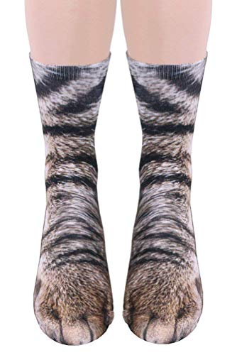 SportsWell Novelty Animal Paw Socks Funny 3D Print Crew Socks for Men Women Kids Cat Adult