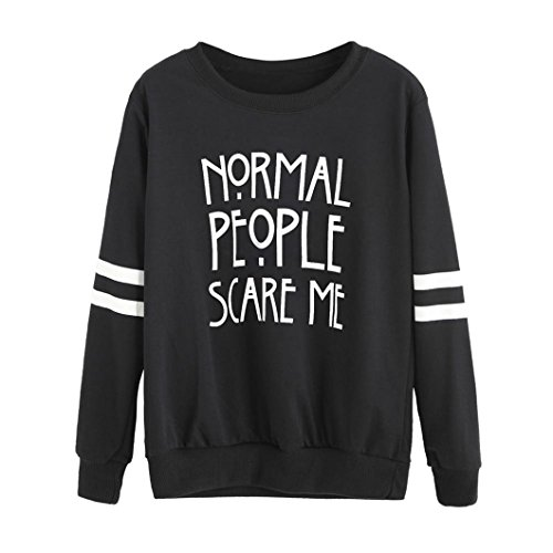 Women's Double Stripes long Sleeve Letter Blouse Casual Loose Sweatshirt Pullovers (L, Black) The Office Us Christmas Special
