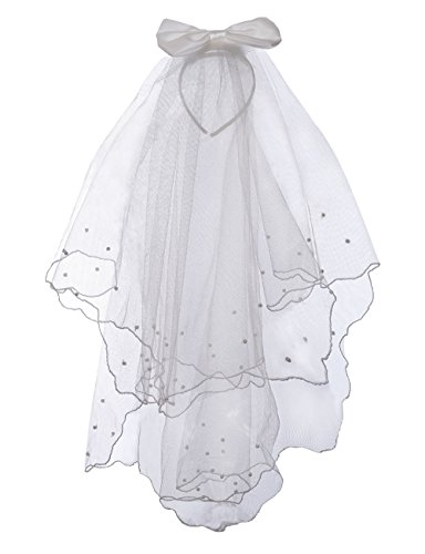 Flower Girls White First Communion Veil Headband with Bow (One size, White (Head -