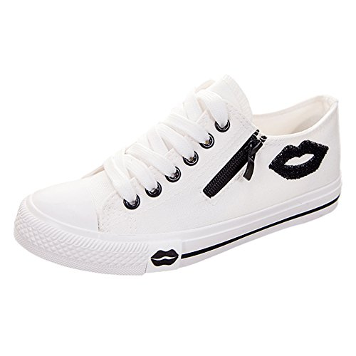 Womens Casual Canvas Shoes Lip Prints Low Top Lace Up Flat Fashion Sneakers, White, 6.5 B (M)  US (Shoes For Women Online)