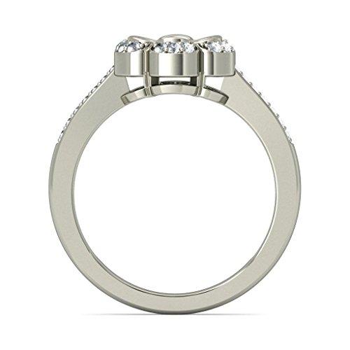 18K Or Blanc, 0,64carat Diamant Taille ronde (IJ | SI) en diamant