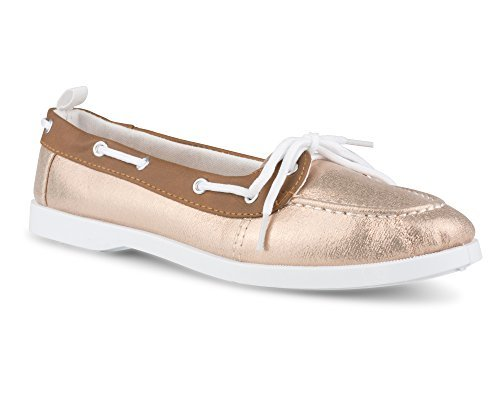 Twisted Women's Bonnie Contrast Stitched Canvas Athletic Boat Shoe - BONNIE136 Rose Gold, Size 11
