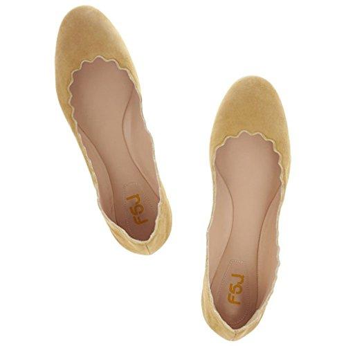 Zapatos De Vestir Lindos De Las Mujeres De Fsj Scalloping Planos Del Ballet Del Ante Del Dedo Del Pie Redondo Para El Tamaño De La Comodidad 4-15 Gasa Del Limón De Los Eeuu