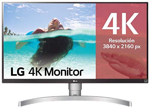"LG 27UK650-W - Monitor 4K UHD de 68,6 cm (27"") con Panel IPS (3840 x 2160 píxeles, 16:9, 350 cd/m², sRGB >99%, 1000:1, 5 ms, 60 Hz) Color Blanco y Plata"
