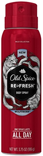 Old Spice Wild Collection Re-Fresh Deodorant Body Spray, Wolfthorn 3.75 oz (Pack of 6)