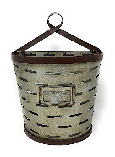 RAZ Imports Wall Planter Hanging Galvanized Metal Half Bucket Container Organizer for Flowers Succulent Air Decorative Plants Tools Distressed Indoor Outdoor Olive (Medium)