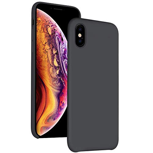 iPhone Xs Max Case Silicone 6.5 inch Compatible with Apple 2018,DIACLARA Gel Rubber Cases with Microfiber Cloth Lining Cushion for Apple (Black)