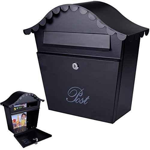 Wall Mount Black Mail Box w/ Retrieval Door & 2 Keys Steel Mailbox New by Wall Mounted Mailboxes