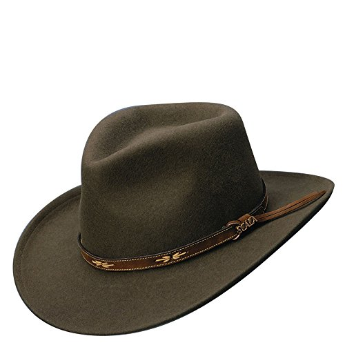 Scala Classico Men's All Seasons Outback Hat,Brown,M (Leather Scala)