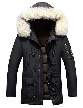MOKAYA Mens Down Jacket Detahable Fur Hooded Winter Jacket