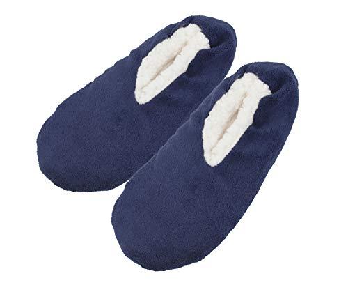 (Men's Slippers Socks Autumn Winter Indoor Non-skid Floor Shoes US 9-10(Navy))