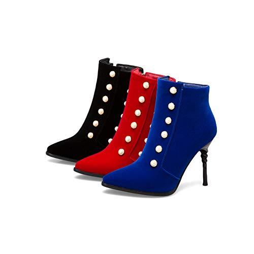 Punta Da Sposa Cerniera Aguzza Btrada Lato Elegante Perla Stivaletti Stivaletti Donna Tacchi Blu Alti Sexy Shoes Dress qx4wYZ4