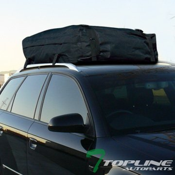Topline Autopart Universal Waterproof Roof Top Cargo Bag Carrier Travel Luggage Storage (Black)