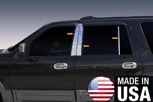 Made In USA! Works With 1997-2017 Ford Expedition 6PC Stainless Steel Chrome Pillar Post Trim