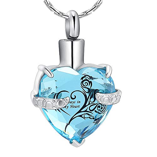 constantlife Crystal Heart Shape Cremation Jewelry Urn Necklace for Ashes Stainless Steel Keepsake Ash Holder Memorial Pendant with Gift Box Charms Accessories for Women (Light Blue + Black) from constantlife