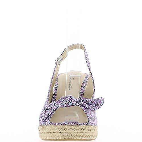 Sandalias de cuña púrpura con razones para bandeja con nodo y tacón de 9,5 cm