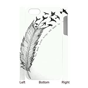 Feather Quote Fly Customized 3D Cover Case for Iphone 4,4S,custom phone case ygtg617267