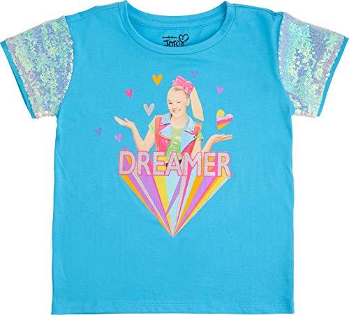 Jojo Siwa Girls' Sequin Short Sleeve T-Shirt (Aqua/Silver, L-10/12)