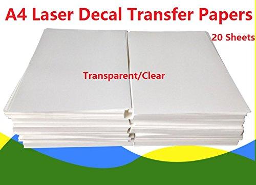 【 confezione di 20】 formato A4laser Water Slide Decal Paper fogli trasparente DIY per stampante laser Rolurs
