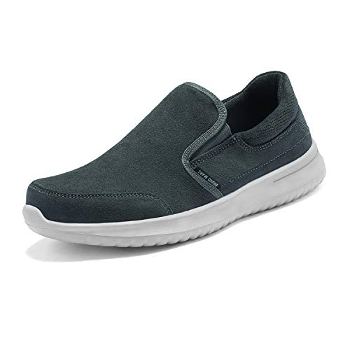 Bruno Marc Men's Slip on Walking Shoes Suede Sneakers Walk-Soft-01 Grey Size 9 M US