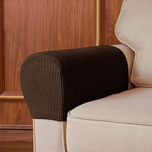 Subrtex Spandex Stretch Fabric Armrest Covers Anti-Slip Furniture Protector Sofa Armchair Slipcovers for Recliner Sofa Set of 2 with Free Twist Pins for Fixing (Chocolate with Twist Pins)