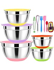 5 Pcs Mixing Bowls with Lids,Stainless Steel Mixing Bowls,Colorful Non-Slip Bottoms,Including Kitchen Utensils,Mixing Bowl Set for Kitchen Mixing Baking Prepping Cooking Serving