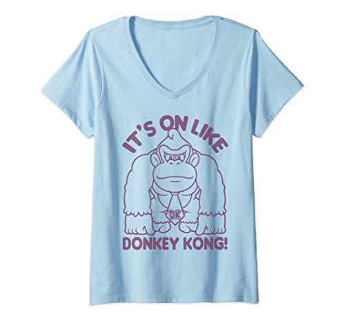 Womens Nintendo It's On Like Donkey Kong Outline Poster V-Neck T-Shirt