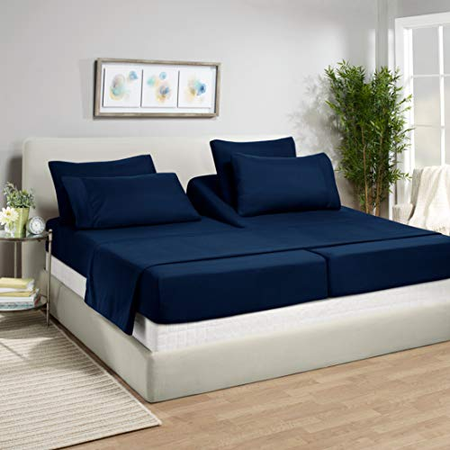 Empyrean Bedding 7 Piece Bed Sheet Set - Heavyweight 110 GSM Strong & Soft Fabric - 2 Tight Fit Extra Corner Straps 14