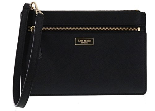 Kate Black Leather (Kate Spade New York Tinie Laurel Way Saffiano Leather Wristlet Handbag Clutch (Black))