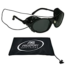 Leather Polarized Sunglasses with Strings - Removable Side Shields.