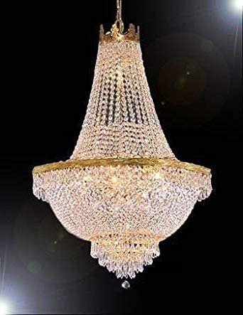 French Empire Crystal Gold Chandelier Lighting – Great for The Dining Room, Foyer, Entry Way, Living Room – H30 X W24