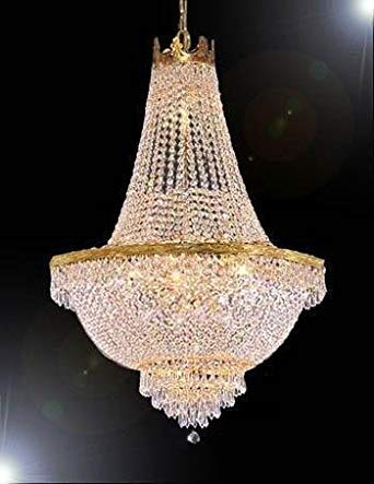 French Empire Crystal Gold Chandelier Lighting - Great for The Dining Room, Foyer, Entry Way, Living Room - H30