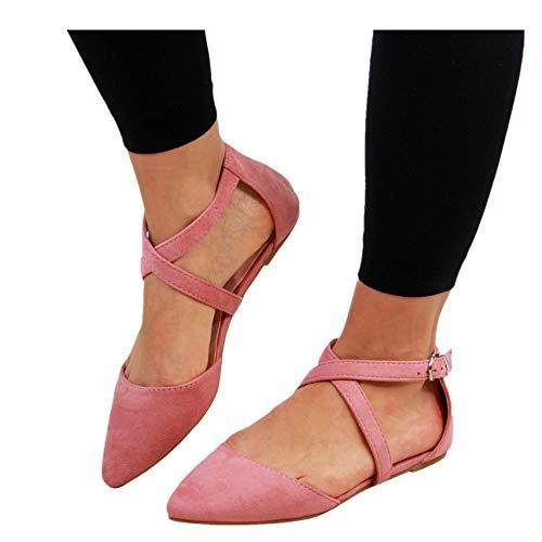 Shoes for Women Round Toe Platform Strap Flat Heel Buckle Leopard Sandals (Pink -3, US:6.5)