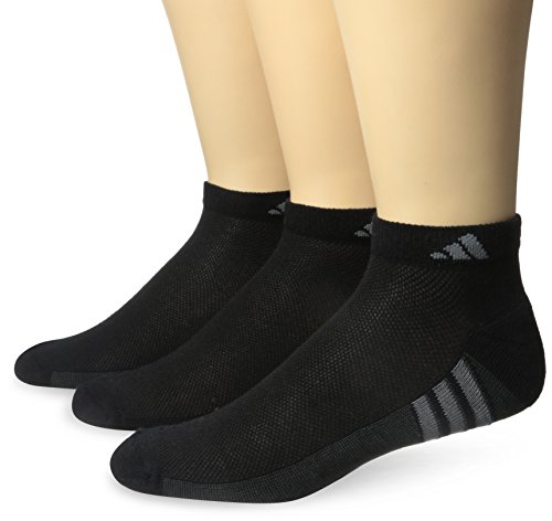 adidas Mens Climacool Superlite Low Cut Socks (3 Pack), Black/Graphite/Medium Lead, Size 12-16