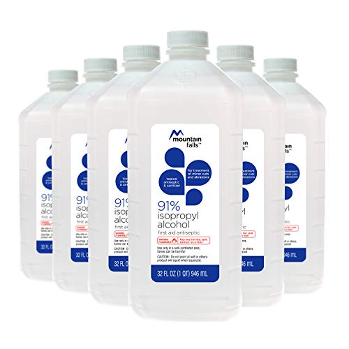 Mountain Falls 91% Isopropyl Alcohol First Aid Antiseptic for Treatment of Minor Cuts and Scrapes, 32 Fl Oz (Pack of 6)