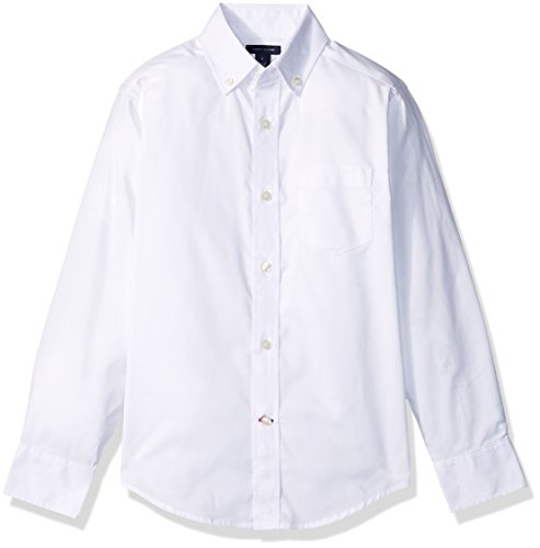 Tommy Hilfiger Boys' Pinpoint Oxford Shirt, White, 16 ()