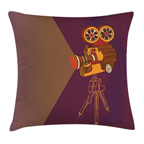 """Ambesonne Vintage Throw Pillow Cushion Cover, Classic Movie Theater Machine with Cinema Fest Typography Past Filmmaker Print, Decorative Square Accent Pillow Case, 20"""" X 20"""", Purple Brown"""