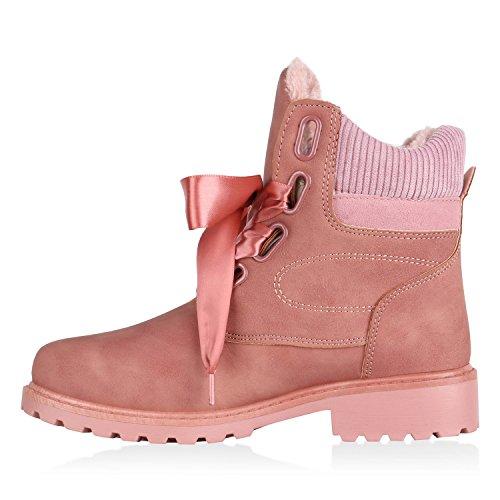 Stiefelparadies Damen Stiefeletten Leicht Gefütterte Outdoor Worker Boots Flandell Altrosa Satinoptik