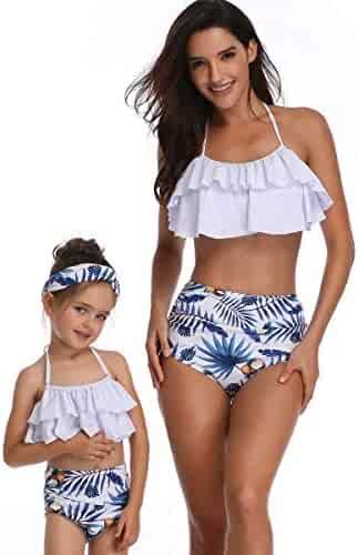 67f84f8c4cf HOYMN 2Pcs Mother and Daughter Swimwear Family Matching Women Girls  Swimsuit Two Pieces Bikini Set Bathing