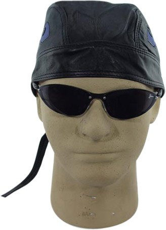 Black Leather With Blue Flame Insert Skull Cap