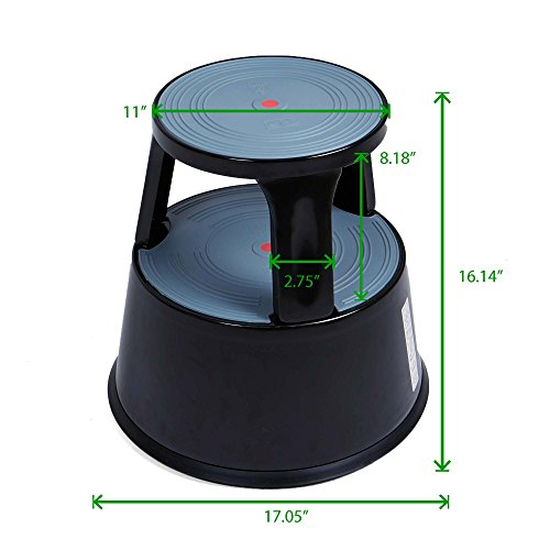 Mind Reader Tall Metal Heavy Duty Rolling Double Step Stool,Holds 300 lbs, Black by Mind Reader (Image #6)