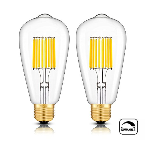 - CRLight 3000K LED Edison Bulb Dimmable 10W 1000LM Soft White Glow, 100W Equivalent E26 Medium Base, ST64 Antique LED Filament Bulbs, Deep Dimming Version, 2 Pack
