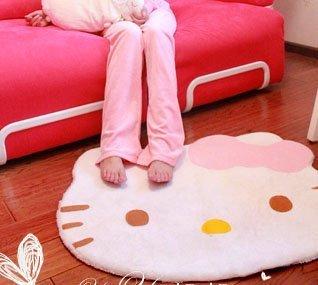 Hello Kitty diecut face shape Area Rug 30