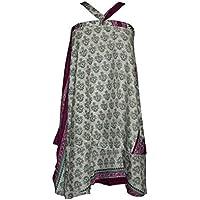 Women's Wrap Skirts Green/Beige PREMIUM Reversible Boho Silk Sari Beach Dress … … …