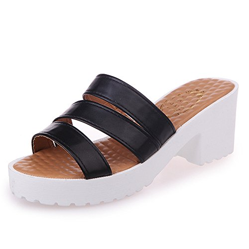 Flip Women's Sandals Sandals Sweet Thong with Platform Black pit4tk Summer Flops Wedge Heels gYqq1