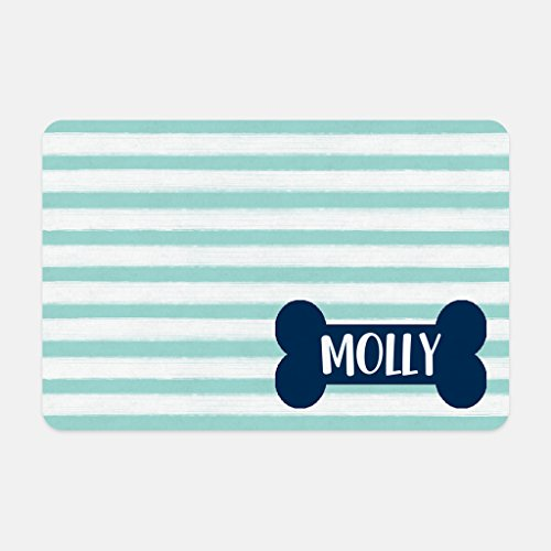 The Navy Knot Personalized Pet Mat - 10 x 16 (Teal Stripe Dog Bone)