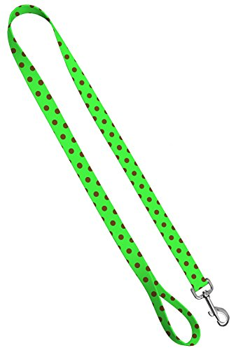 Moose Pet Wear Deluxe Dog Leash - Patterned Heavy Duty Pet Leashes, Made in The USA - 1 Inch x 4 Feet, Polka Dots Brown on Lime ()